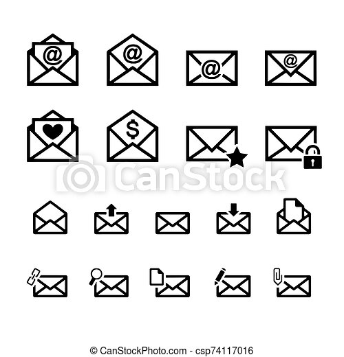Mail icon isolated on White Background Vector illustration - csp74117016