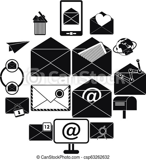 Mail icons set, simple style - csp63262632