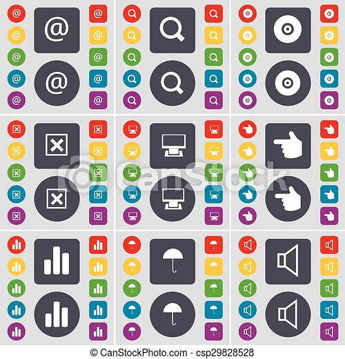 Mail, Magnifying glass, Disk, Stop, Monitor, Hand, Diagram, Umbrella, Sound icon symbol. A large set of flat, colored buttons for your design. Vector - csp29828528
