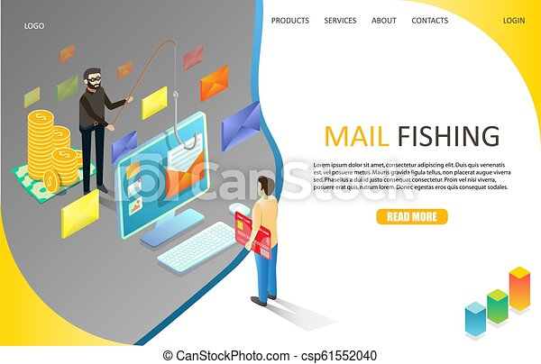 Mail phishing landing page website vector template