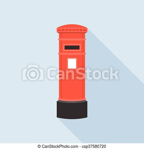 Mail Post Box Illustration Post Box Vector Mail Box Post Isolated With Long Shadow Flat Design Vintage Red Letter Post Box
