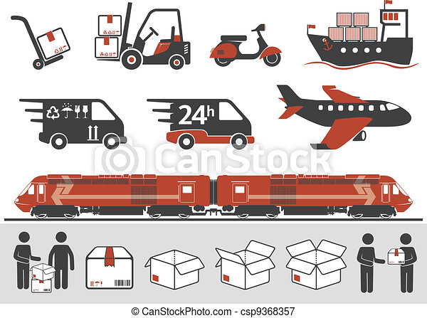 Mail transportation symbols - csp9368357
