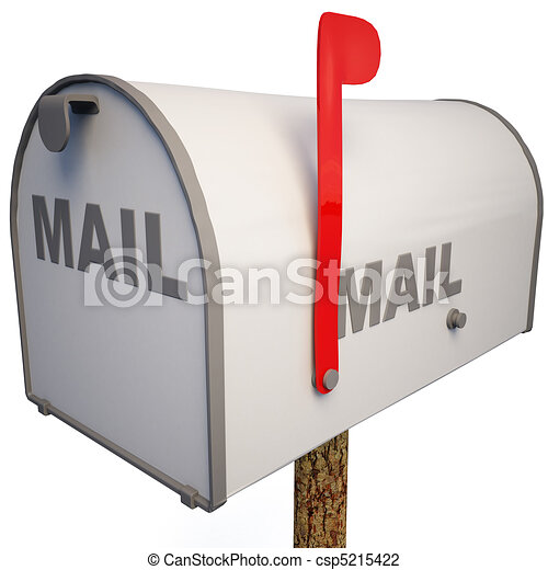 Closed mailbox with a raised flag clip art Search Illustration