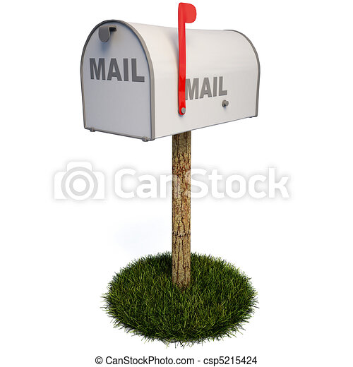 Closed mailbox with a raised flag drawing Search Clip Art