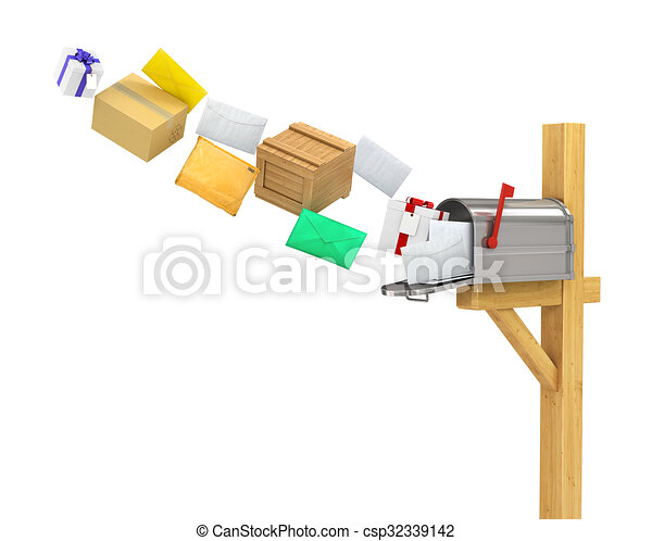 Mailbox (flying parcels and letters) - csp32339142