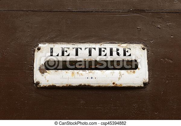 Mailbox on a door - csp45394882