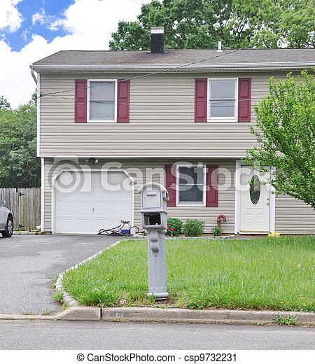 Mailbox on Suburban Home Front Yard - csp9732231