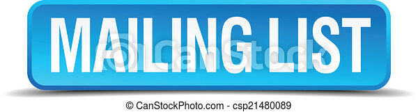 mailing list blue 3d realistic square isolated button - csp21480089