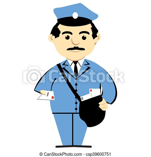 mailman holding letter postman with mailbag over shoulder rh canstockphoto com mailman clipart black and white pictures of mailman clipart