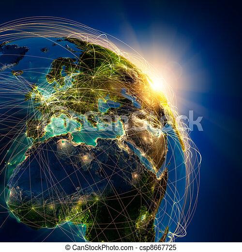 Main air routes in Europe - csp8667725