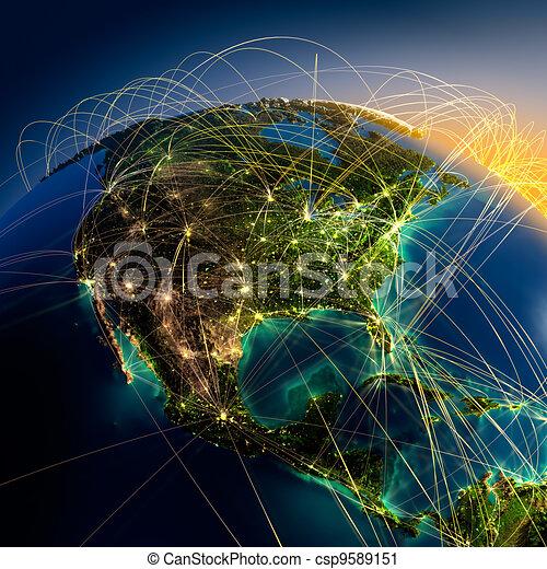 Main air routes in North America - csp9589151