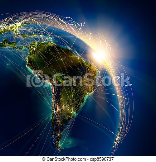 Main air routes in South America - csp8590737
