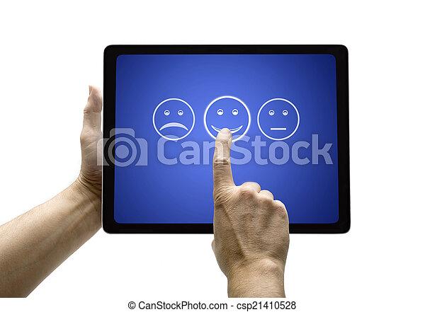 main, client, écran, formulaire, évaluation, service, toucher - csp21410528