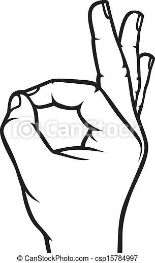 main, d'accord, humain, signe - csp15784997
