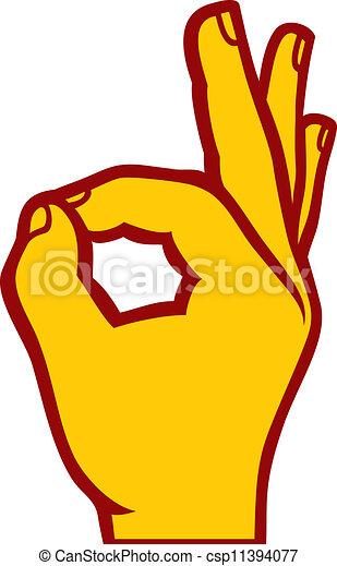 main, d'accord, humain, signe - csp11394077
