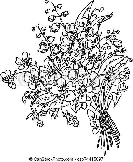 Main Dessin Bouquet Fleurs Printemps Canstock