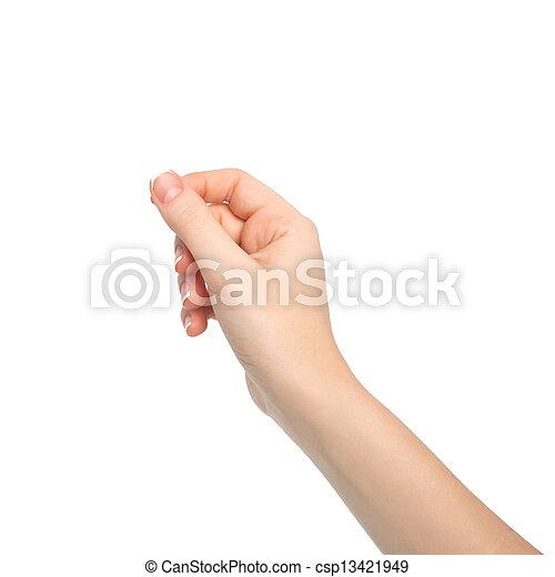 main, femme, isolé, objet, tenue - csp13421949