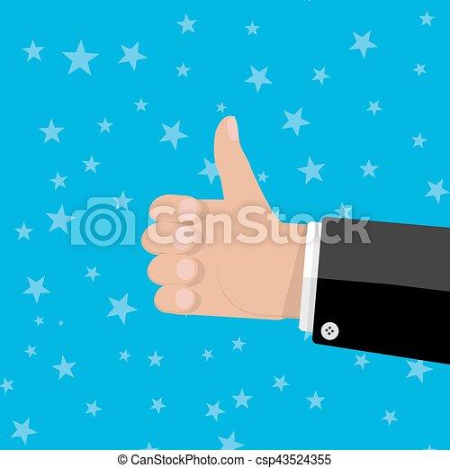 main haut, geste, pouces - csp43524355