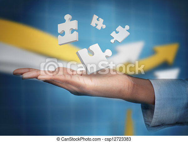 main, numérique, puzzles, blanc, levitating - csp12723383