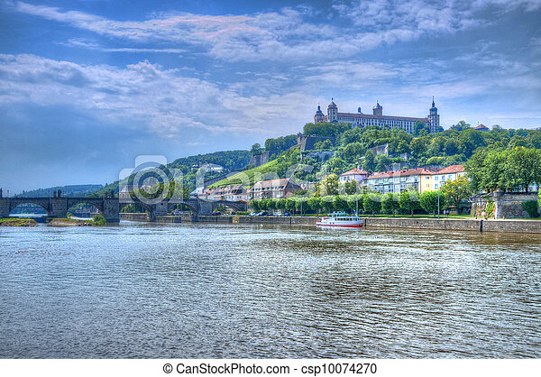 Main river with Marienberg Fortress (Castle), Wurzburg, Bayern, Germany - csp10074270