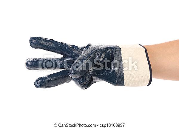 main, trois, doigts, pointage, gloved - csp18163937