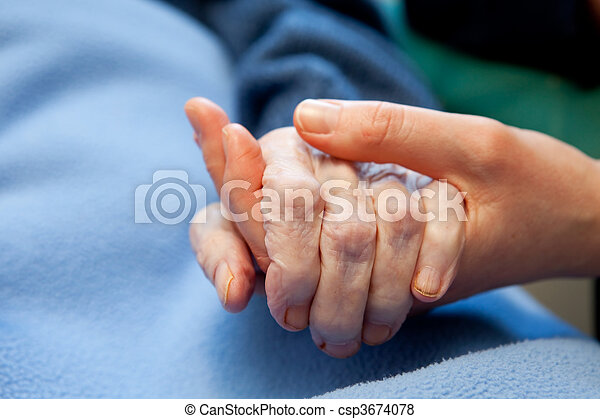 main, vieux, personnes âgées soucient - csp3674078