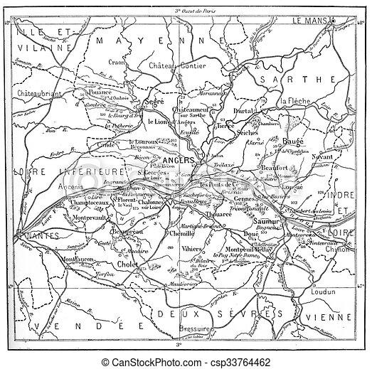 Maine Et Loire Carte La Vendange Topographique De Gravure France Paye Département Loire