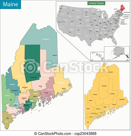 Maine Map Map Of Maine State Designed In Illustration With The