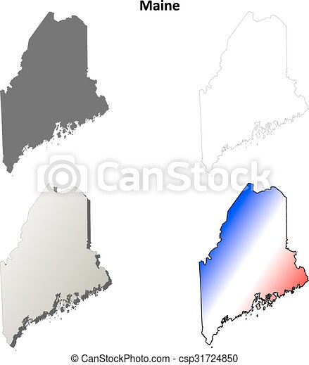 Maine Outline Map Set Maine State Blank Vector Outline Map - Maine blank physical map