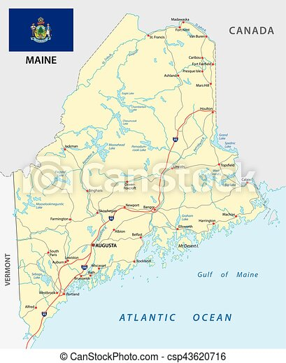 Maine road map with flag vector clip art Search Illustration