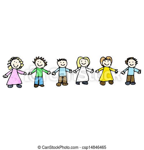 Mains amis dessin tenue enfant clip art vectoriel - Dessin main enfant ...