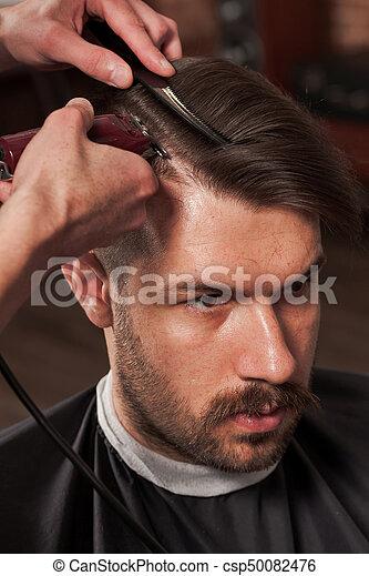 mains, coupe, jeune, coiffeur, confection, salon coiffure, homme