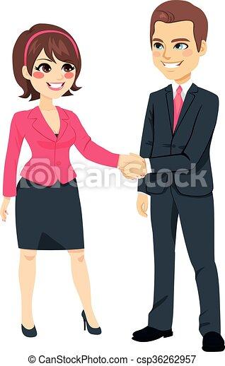 mains, femme affaires, secousse, homme affaires - csp36262957