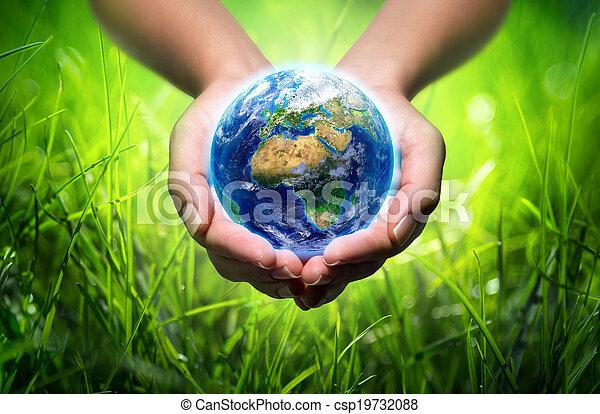 mains, la terre, fond, herbe, - - csp19732088