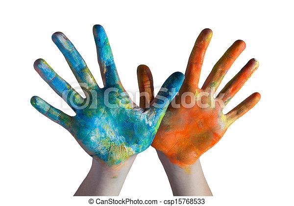 mains traversées, coloré - csp15768533