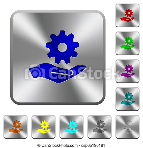 Maintenance service rounded square steel buttons - csp65196191