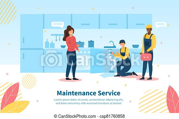 Maintenance Service scene with housewife - csp81760858
