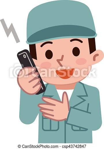 Maintenance worker talking on mobile phone - csp43742847