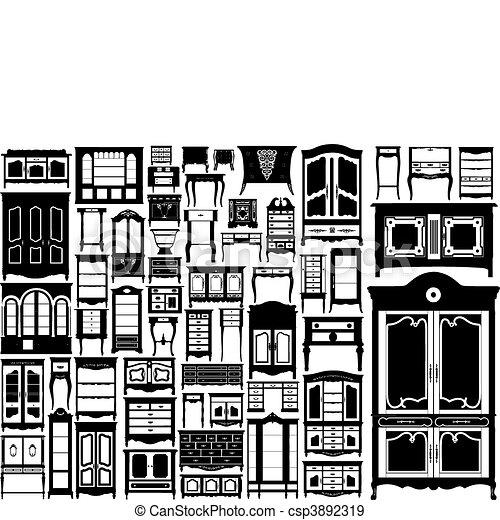 maior, collection., cômodas, vetorial - csp3892319