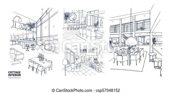 Maison été, dessins, monochrome, contour, furniture., arrière-plan ...