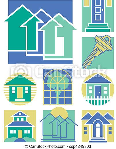maison, 3, collection, icônes - csp4249303
