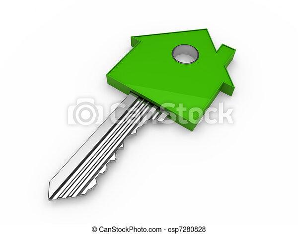 maison, 3d, clef verte, maison - csp7280828