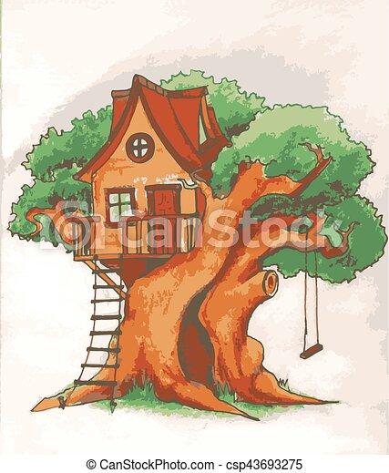 maison, arbre, échelle, house., illustration, terrasse, balançoire cour, enfants, kids. - csp43693275