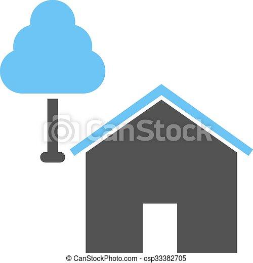 maison, arbre - csp33382705