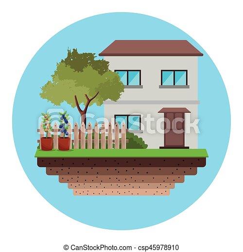 maison, arbre, jardin, barrière - csp45978910