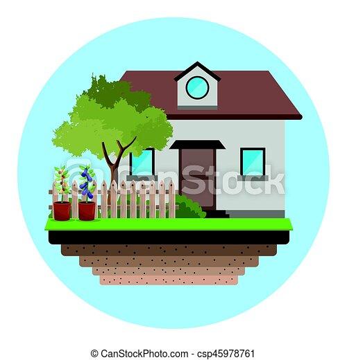 maison, arbre, jardin, barrière - csp45978761