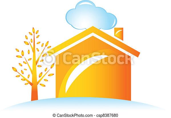 maison, arbre, logo - csp8387680