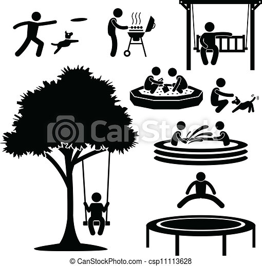 maison, arrière-cour, activité, pictogramme - csp11113628