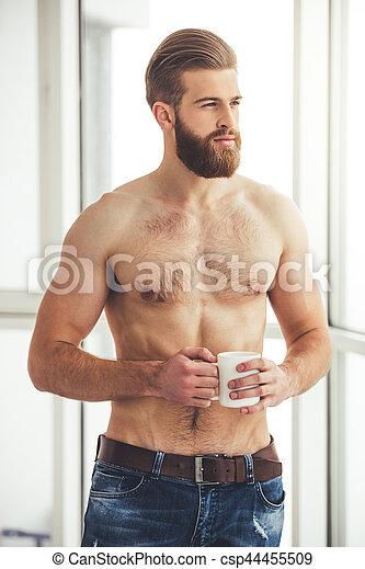 secrets de la photo de nu homme barbu sexy nu