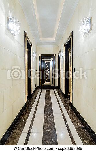 Maison, baroque, long, couloir. Maison, baroque, luxe, long, couloir.